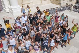 Groupe d'étudiants à Valletta